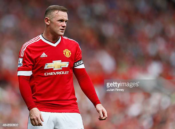 Wayne Rooney of Manchester United looks on during the Barclays Premier League match between Manchester United and Newcastle United at Old Trafford on...