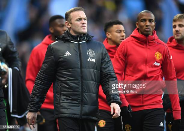 Wayne Rooney of Manchester United looks on during the Premier League match between Manchester City and Manchester United at Etihad Stadium on April...