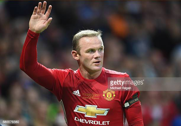 Wayne Rooney of Manchester United looks on during the Wayne Rooney Testimonial match between Manchester United and Everton at Old Trafford on August...