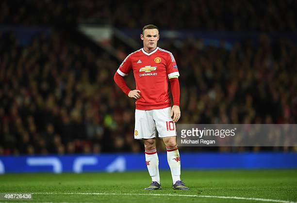 Wayne Rooney of Manchester United looks thoughtful during the UEFA Champions League Group B match between Manchester United FC and PSV Eindhoven at...