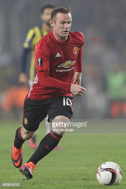 Wayne Rooney of Manchester United makes a break during the UEFA Europa League Group A match between Fenerbahce SK and Manchester United FC at Sukru...