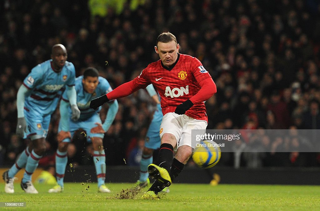 <a gi-track='captionPersonalityLinkClicked' href=/galleries/search?phrase=Wayne+Rooney&family=editorial&specificpeople=157598 ng-click='$event.stopPropagation()'>Wayne Rooney</a> of Manchester United misses a penalty kick during the FA Cup with Budweiser Third Round Replay match between Manchester United and West Ham United at Old Trafford on January 16, 2013 in Manchester, England.