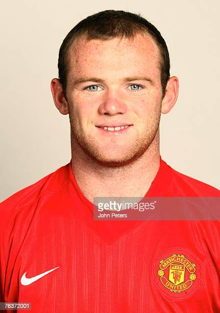 Wayne Rooney of Manchester United poses during the club's annual preseason photocall at Carrington Training Ground on August 17 2007 in Manchester...