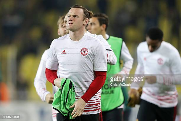 Wayne Rooney of Manchester United runs during the warmup before the UEFA Europa League Group A match between Fenerbahce SK and Manchester United FC...