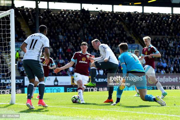 Wayne Rooney of Manchester United scores his team's second goal during the Premier League match between Burnley and Manchester United at Turf Moor on...