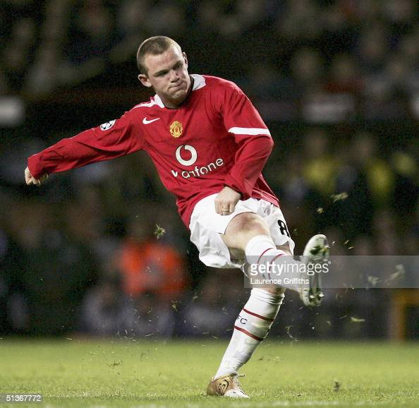 Wayne Rooney of Manchester United scores his third goal during the UEFA Champions League Group D match between Manchester United and Fenerbahce SK at...