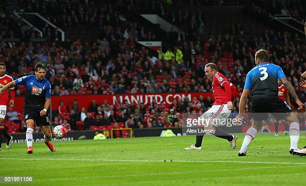 Wayne Rooney of Manchester United scores their first goal during the Barclays Premier League match between Manchester United and AFC Bournemouth at...