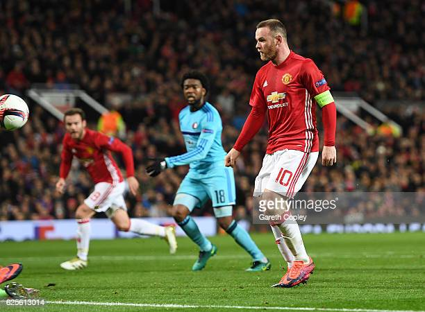 Wayne Rooney of Manchester United scores their first goal during the UEFA Europa League Group A match between Manchester United FC and Feyenoord at...