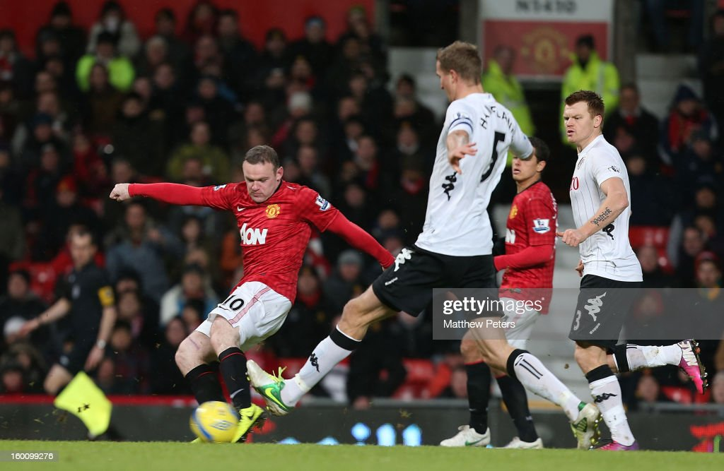 <a gi-track='captionPersonalityLinkClicked' href=/galleries/search?phrase=Wayne+Rooney&family=editorial&specificpeople=157598 ng-click='$event.stopPropagation()'>Wayne Rooney</a> of Manchester United scores their second goal during the FA Cup Fourth Round match between Manchester United and Fulham at Old Trafford on January 26, 2013 in Manchester, England.