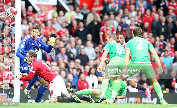 Wayne Rooney of Manchester United scores their second goal during the Barclays Premier League match between Manchester United and Sunderland on...