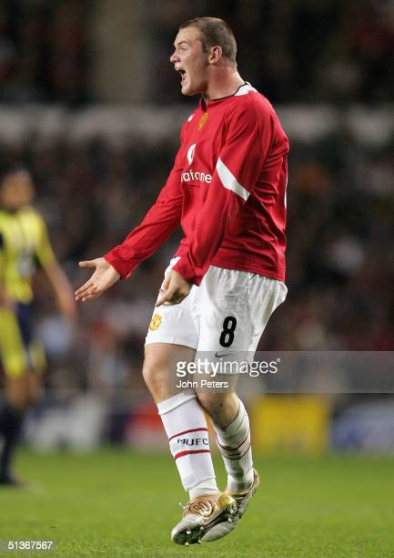 Wayne Rooney of Manchester United shouts for the ball during the UEFA Champions League match between Manchester United and Fenerbahce at Old Trafford...