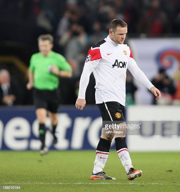 Wayne Rooney of Manchester United shows his disappointment after the UEFA Champions League Group C match between FC Basel and Manchester United at St...