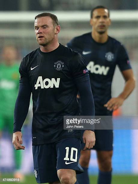 Wayne Rooney of Manchester United shows his disappointment during the UEFA Champions League Round of 16 match between Olympiacos FC and Manchester...
