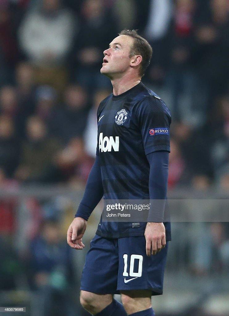 <a gi-track='captionPersonalityLinkClicked' href=/galleries/search?phrase=Wayne+Rooney&family=editorial&specificpeople=157598 ng-click='$event.stopPropagation()'>Wayne Rooney</a> of Manchester United shows his disappointment during the UEFA Champions League quarter-final second leg match between Bayern Munich and Manchester United at Allianz Arena on April 9, 2014 in Munich, Germany.