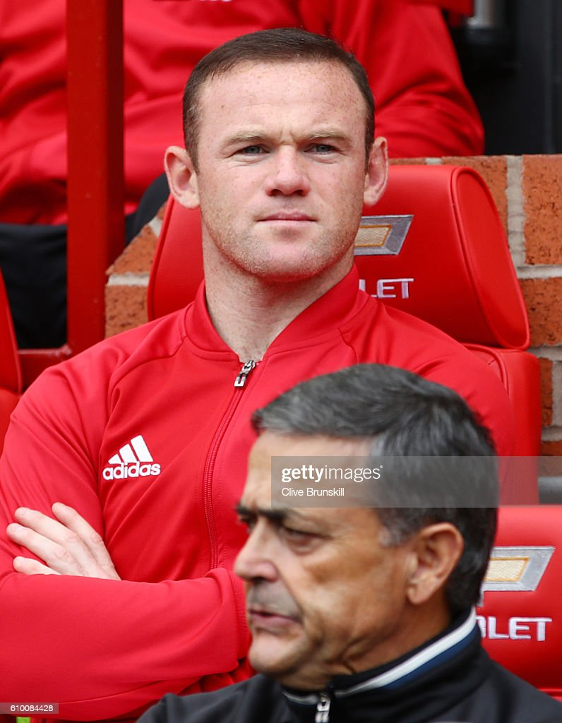 Wayne Rooney of Manchester United sits on the bench during the Premier League match between Manchester United and Leicester City at Old Trafford on September 24, 2016 in Manchester, England.