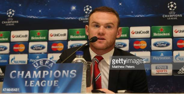 Wayne Rooney of Manchester United speaks at a press conference ahead of their UEFA Champions League Round of 16 match against Olympiacos Piraeus at...