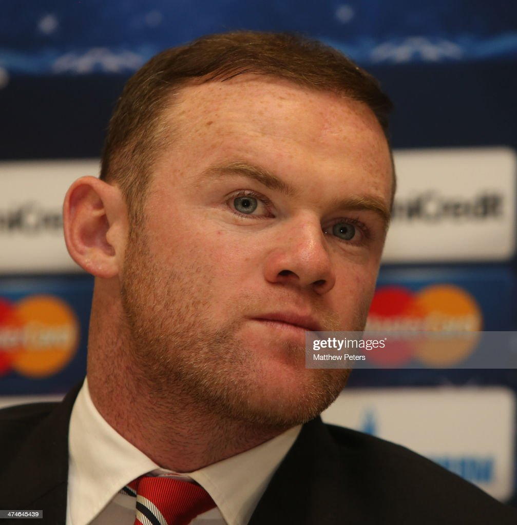 <a gi-track='captionPersonalityLinkClicked' href=/galleries/search?phrase=Wayne+Rooney&family=editorial&specificpeople=157598 ng-click='$event.stopPropagation()'>Wayne Rooney</a> of Manchester United speaks at a press conference, ahead of their UEFA Champions League Round of 16 match against Olympiacos Piraeus, at Karaiskakis Stadium on February 24, 2014 in Piraeus, Greece.