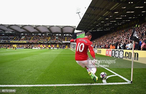 Wayne Rooney of Manchester United takes a corner during the Premier League match between Watford and Manchester United at Vicarage Road on September...