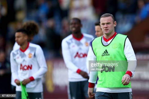 Wayne Rooney of Manchester United takes part in the warmup before the Premier League match between Burnley and Manchester United at Turf Moor on...