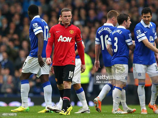 Wayne Rooney of Manchester United walks off the pitch after the Barclays Premier League match between Everton and Manchester United at Goodison Park...