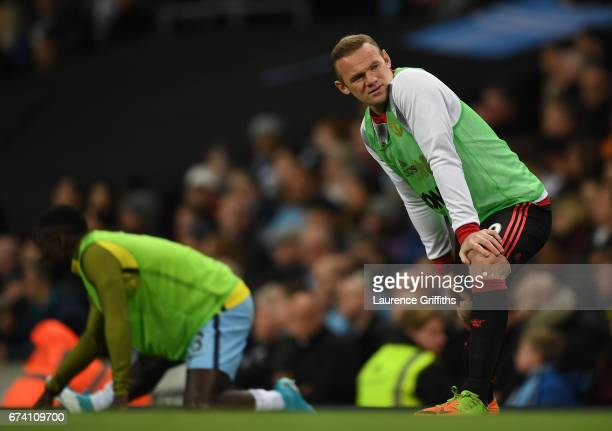 Wayne Rooney of Manchester United warms up during the Premier League match between Manchester City and Manchester United at Etihad Stadium on April...