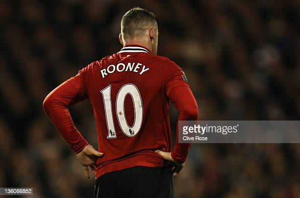 Wayne Rooney of Manchester United wears the number 10 shirt during the Barclays Premier League match between Fulham and Manchester United at Craven...