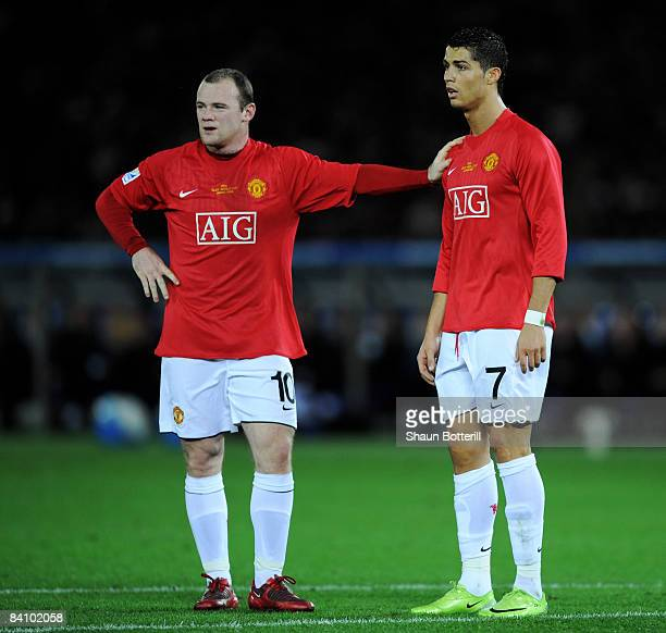 Wayne Rooney of Manchester United with teammate Cristiano Ronaldo during the FIFA Club World Cup Japan 2008 Final match between Manchester United and...