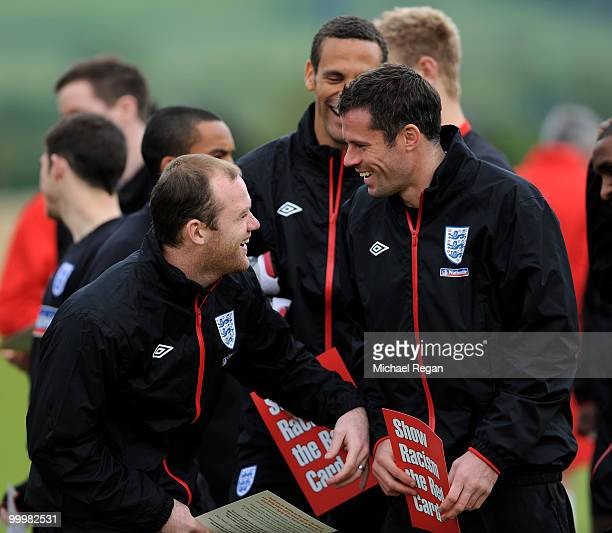 Wayne Rooney shares a joke with Jamie Carragher during an England training session on May 19 2010 in Irdning Austria
