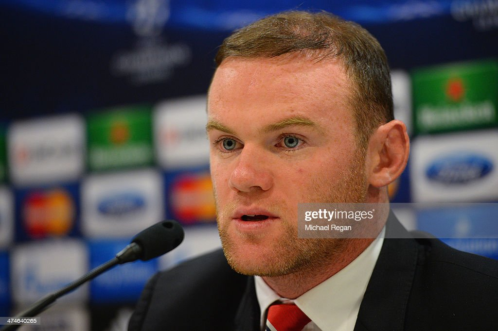 Wayne Rooney speaks to the media during the Manchester United press conference at Karaiskakis Stadium on February 24, 2014 in Piraeus, Greece.