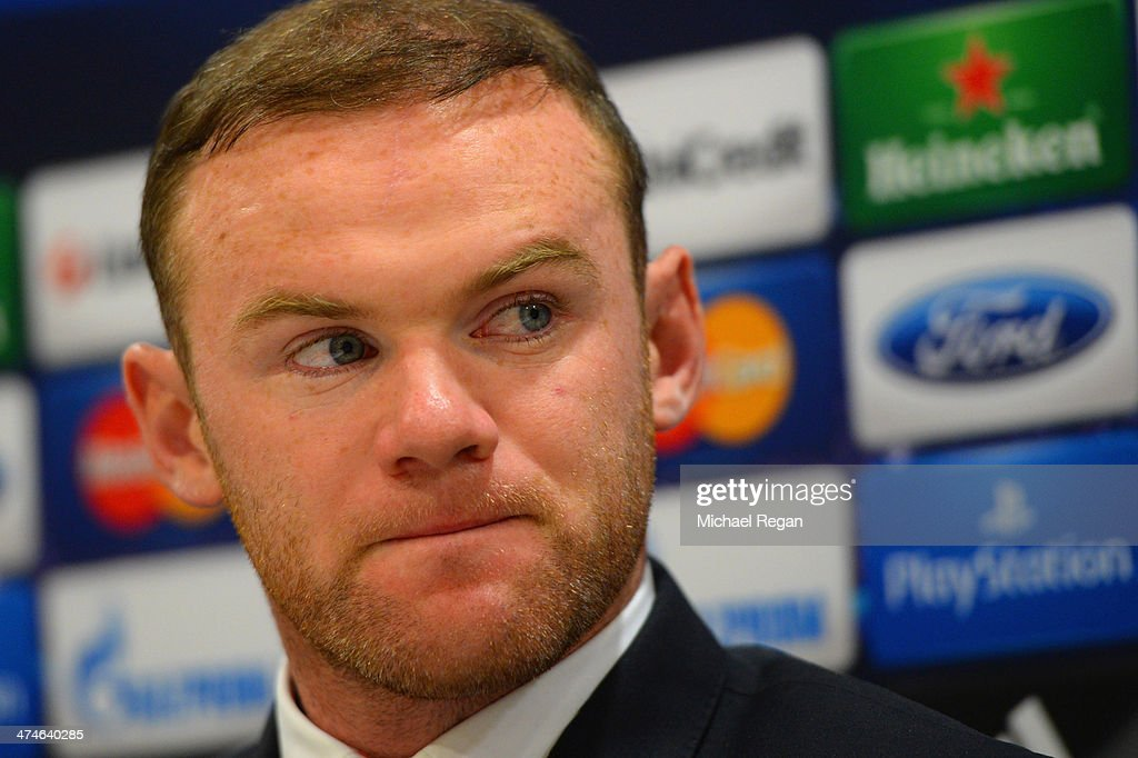 <a gi-track='captionPersonalityLinkClicked' href=/galleries/search?phrase=Wayne+Rooney&family=editorial&specificpeople=157598 ng-click='$event.stopPropagation()'>Wayne Rooney</a> speaks to the media during the Manchester United press conference at Karaiskakis Stadium on February 24, 2014 in Piraeus, Greece.