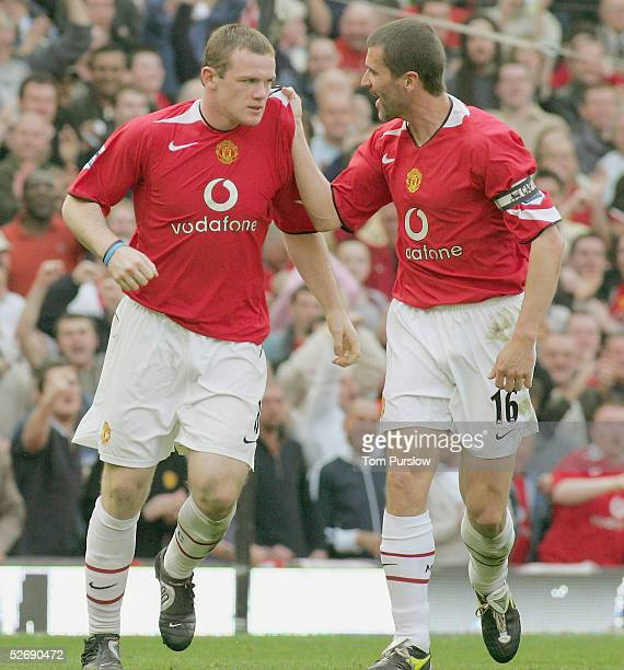 Wayne Rooney United celebrates scoring the second goal during the Barclays Premiership match between Manchester United and Newcastle United at Old...
