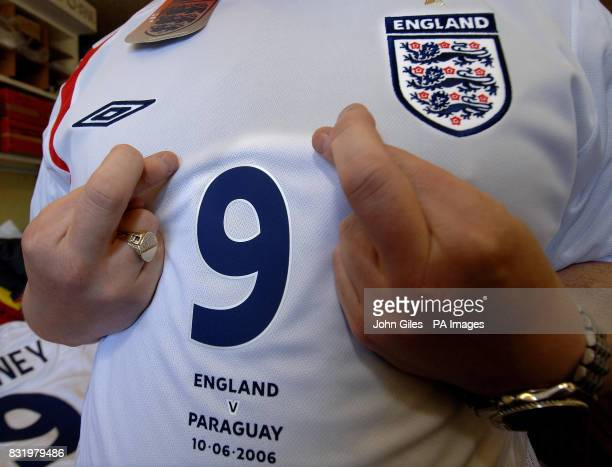 Wayne Rooney's number nine shirt part of the first batch of the England team's kit which was ready for collection by the FA today from International...