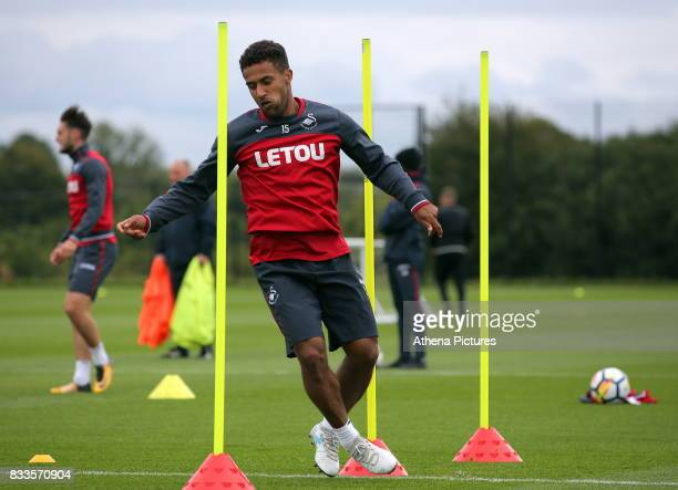 Wayne Routledge in action during the Swansea City Training at The Fairwood Training Ground on August 16 2017 in Swansea Wales