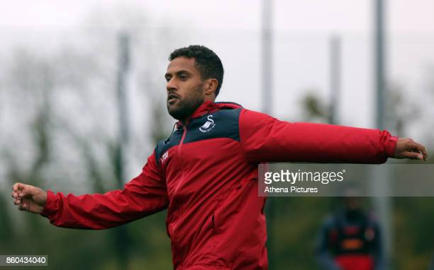 Wayne Routledge in action during the Swansea City Training at The Fairwood Training Ground on October 11 2017 in Swansea Wales
