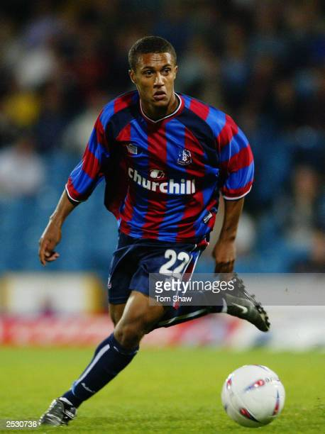 Wayne Routledge of Crystal Palace makes a break forward during the Nationwide League Division One match between Crystal Palace and Bradford City held...