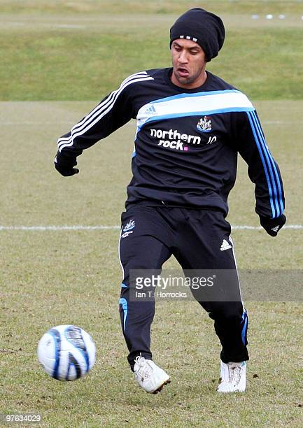 Wayne Routledge of Newcastle in action during a Newcastle United training session at the Little Benton training ground on March 11 2010 in Newcastle...