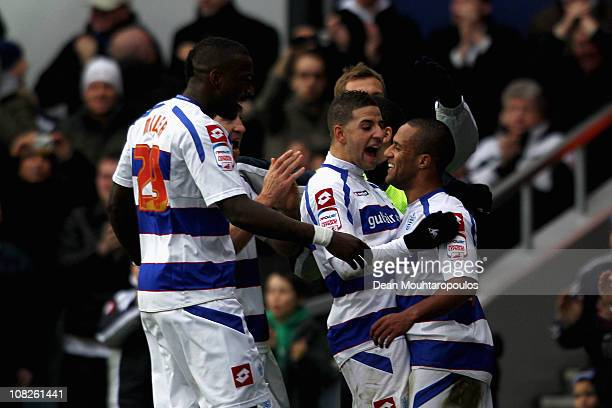 Wayne Routledge of QPR is congratulated by team mates after he scores the winning goal in the npower Championship match between Queens Park Rangers...
