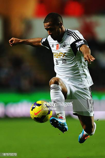 Wayne Routledge of Swansea City controls the ball during the Barclays Premier League match between Swansea City and Stoke City at Liberty Stadium on...
