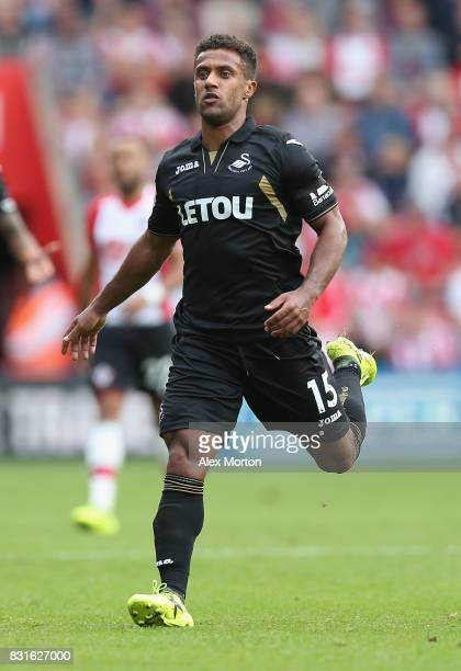 Wayne Routledge of Swansea City during the Premier League match between Southampton and Swansea City at St Mary's Stadium on August 12 2017 in...