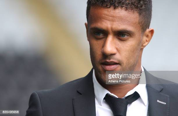 Wayne Routledge of Swansea City prior to kick off of the Premier League match between Swansea City and Manchester United at The Liberty Stadium on...