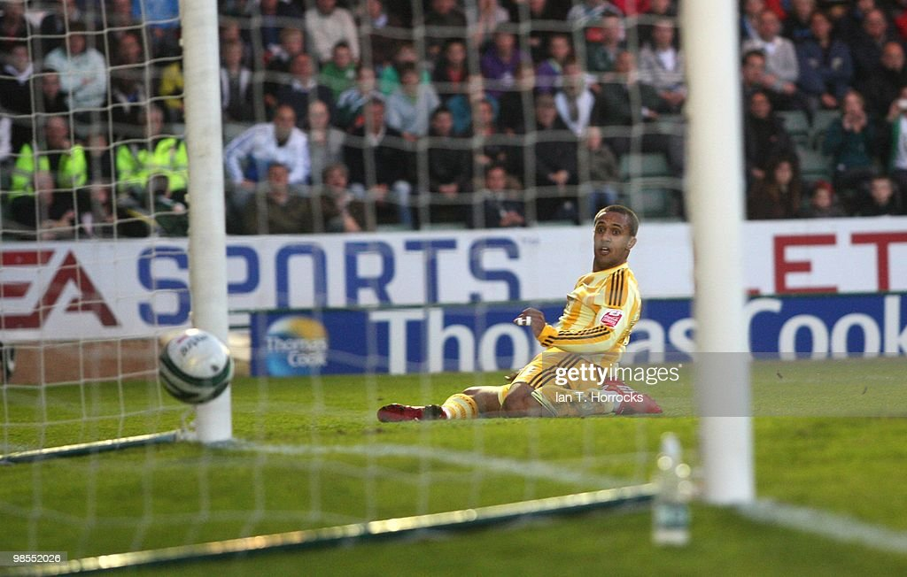 Wayne Routledge Scores The Second Goal During Coca Cola Championship Match Between Plymouth Argyle And