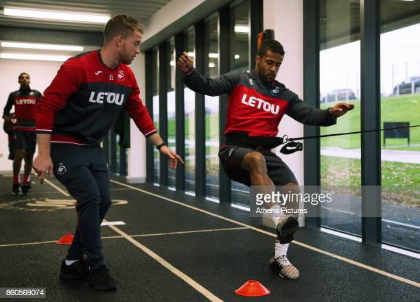Wayne Routledge works out in the gym during the Swansea City Training at The Fairwood Training Ground on October 11 2017 in Swansea Wales