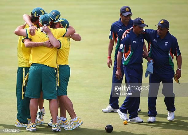 Wayne Ruediger Brett Wilkie Nathan Rice and Matt Flapper of Australia celebrate winning the Bronze Medal in the Men's Fours Final against Kamal Kumar...