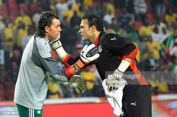Wayne Sandilands of South Africa and Essam ElHadary of Egypt greet each other during the 2012 Africa Cup of Nations Qualifier match between South...