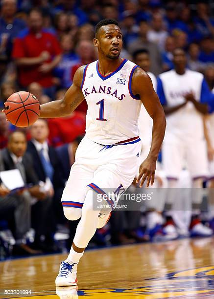 Wayne Selden Jr #1 of the Kansas Jayhawks drives the ball upcourt during the game against the Baylor Bears at Allen Fieldhouse on January 2 2016 in...