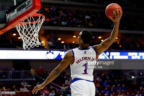 Wayne Selden Jr #1 of the Kansas Jayhawks dunks against the Connecticut Huskies in the second half during the second round of the 2016 NCAA Men's...