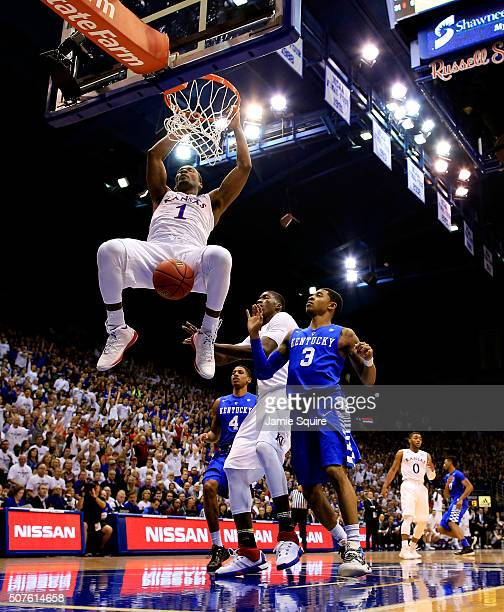 Wayne Selden Jr #1 of the Kansas Jayhawks dunks during the 1st half of the game against the Kentucky Wildcats at Allen Fieldhouse on January 30 2016...