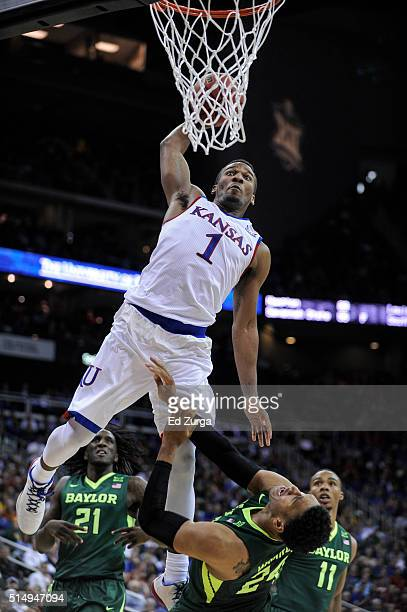 Wayne Selden Jr #1 of the Kansas Jayhawks goes up for a dunk against Ishmail Wainright of the Baylor Bears in the second half during the semifinals...