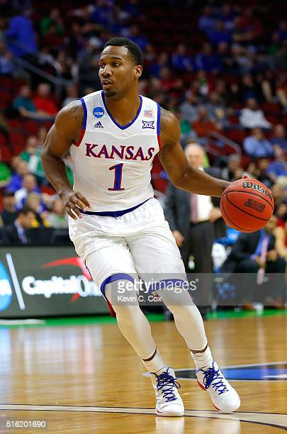 Wayne Selden Jr #1 of the Kansas Jayhawks handles the ball in the second half against the Austin Peay Governors during the first round of the 2016...