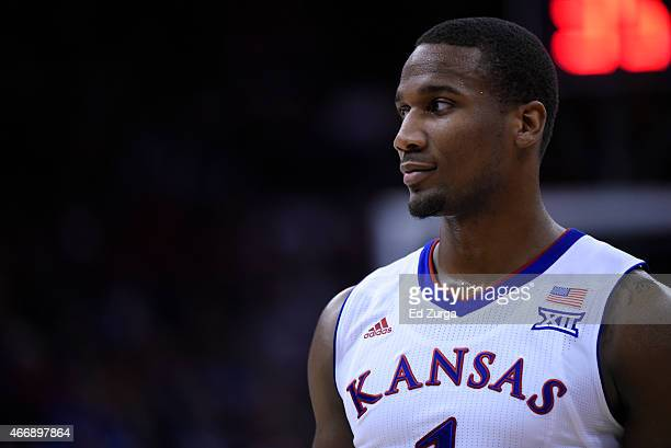 Wayne Selden Jr #1 of the Kansas Jayhawks in action against the Baylor Bears during the semifinals round of the Big 12 basketball tournament at...